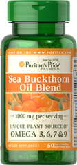 Sea Buckthorn Oil Blend 500 mg <p>Unique Plant Source of Omega 3,6, 7 & 9</p> 60 Softgels 500 mg $19.99