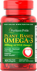Plant Based Omega 300 mg <p>The vegetarian formula of this plant-based Omega-3 supplement is derived from algae and provides 300 mg of Total Omega-3 Fatty Acids comprising of EPA (Eicosapentaenoic Acid) 90 mg and DHA (Docosahexaenoic Acid) 180 mg. <span> </span><span>EPA and DHA fatty acids support heart health.** <br /></span></p><p><span>In addition to playing a role in supporting heart health, Fatty Acids play a role in providing