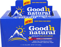 Good 'N Natural Vanilla Raspberry Bars <p>Good 'N Natural Vanilla Raspberry-- a uniquely delicious fruit, nut, and seed bar.</p><p>With Organic Brown Rice Syrup, Diced Soynuts, Gluten Free Rolled Oats, Organic Maple Syrup, and more!</p><p>Vegan & Dairy Free</p> 6 Box  $12.99