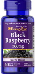 Black Raspberry Freeze-Dried 300 mg <p>Freeze-dried</p><p>Vegetarian</p><p>Our freeze-dried Black Raspberry herbal supplement provides natural components of Black Raspberry in a rapid release capsule.** Puritan's Pride Natural Whole Herb products utilize ground plant parts to provide the natural components found in nature, while the freeze-drying process maintains the naturally occurring nutrients of black raspberries. Vegetarian formula with no artificial color, fl