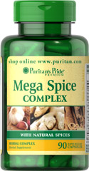 "Mega Spice Complex with Natural Spices <ul><li><span style=""font-family:'Arial','sans-serif';color:#141414;"">A convenient way to get the benefits of a wide variety of spices into your diet.**</span></li><li><span style=""font-family:'Arial','sans-serif';color:#141414;"">Contains Turmeric, Garlic, Ginger, Cinnamon, and more!</span></li><li><span style=""font-family:'Arial',"