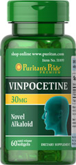 Vinpocetine 30 mg <p>Used in Europe for years, Vinpocetine is a chemically distinct substance, known as an alkaloid.</p><p></p> 60 Rapid Release Softgels 30 mg $22.99