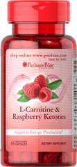 L-Carnitine & Raspberry Ketones Supports Energy Production** 60 Capsules  $17.99