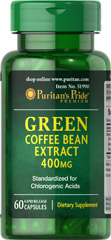 Green Coffee Bean Extract 400 mg <p><span></span></p><p>Green Coffee Bean contains antioxidant properties.**</p><p>Standardized to contain 45% Chlorogenic Acids.</p><p><span></span>Rapid release capsules.</p><p>Our Green Coffee Bean Extract contains 400mg in one rapid release capsule. This dietary supplement is standardized to contain 45% Chlorogenic Acids, at 180mg. Includes 60 rapid release capsules.</p> 60 Rap