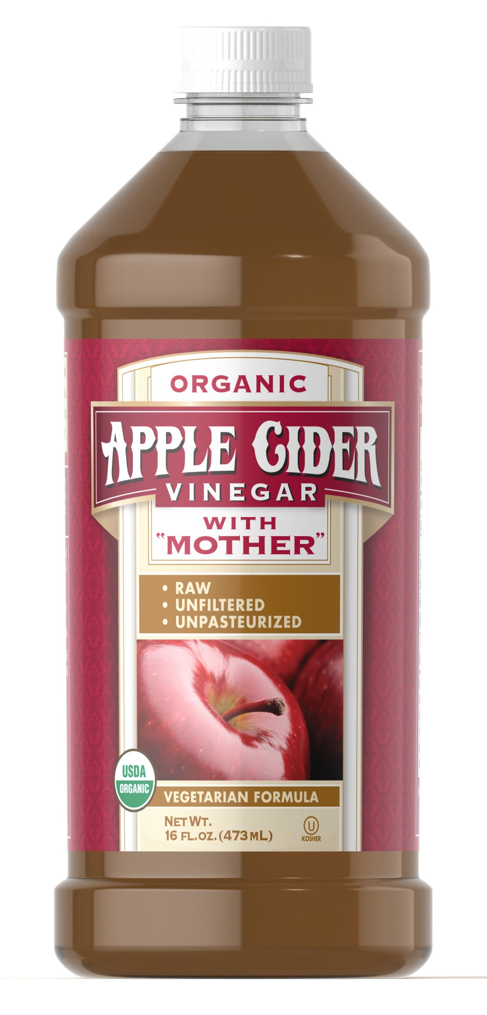 "Organic Apple Cider Vinegar with ""Mother"" <ul><li>Raw</li><li>Unfiltered</li><li>Unpasteurized</li></ul><p>Organic Apple Cider Vinegar is made from certified Organic grown apples.  It is unpasteurized and unfiltered to retain the naturally formed ""Mother"".</p> 16 oz Liquid  $7.99"