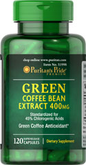 Green Coffee Bean Extract 400 mg <p><span></span></p><p>Green Coffee Bean contains antioxidant properties.**</p><p>Standardized to contain 45% Chlorogenic Acids.</p><p><span></span>Rapid release capsules.</p><p>Our Green Coffee Bean Extract contains 400mg in one rapid release capsule. This dietary supplement is standardized to contain 45% Chlorogenic Acids, at 180mg. Includes 60 rapid release capsules.</p> 120 Ra