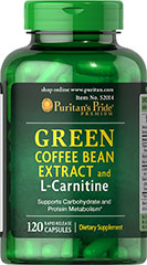 Green Coffee Bean Extract & L-Carnitine • Supports Carbohydrate and Protein Metabolism**<br />• Contains 250mg Green Coffee Bean Extract (Coffea arabica) (Standardized to contain 45% Chlorogenic Acids, 112.5 mg)<br />• Rapid Release Capsules<br />Our Green Coffee Bean Extract with L-Carnitine supports carbohydrate and protein metabolism.** It contains 250mg of Green Coffee Bean Extract (Coffea arabica) per serving, standardized to contain 45% Chlorogenic Acids, 112.5 mg. Al