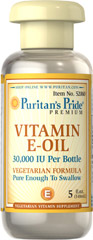 Vitamin E-Oil 30,000 IU <p>Vegetarian Formula</p><p>Pure Enough to Take Orally</p><p>Natural Lemon Flavor</p><p>Enjoy the moisturizing benefits of our pure E-Oil.  <strong>Vitamin E Oil</strong>, in a base of vegetable oils, will nourish and protect the skin with its fabulous moisturizing action.</p> 5 fl oz Oil 30000 IU $20.24