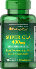 Super GLA 400 mg <p>From Safflower oil</p><p>Super concentrated GLA</p><p>Supports metabolic health**</p>  60 Softgels 400 mg $15.99