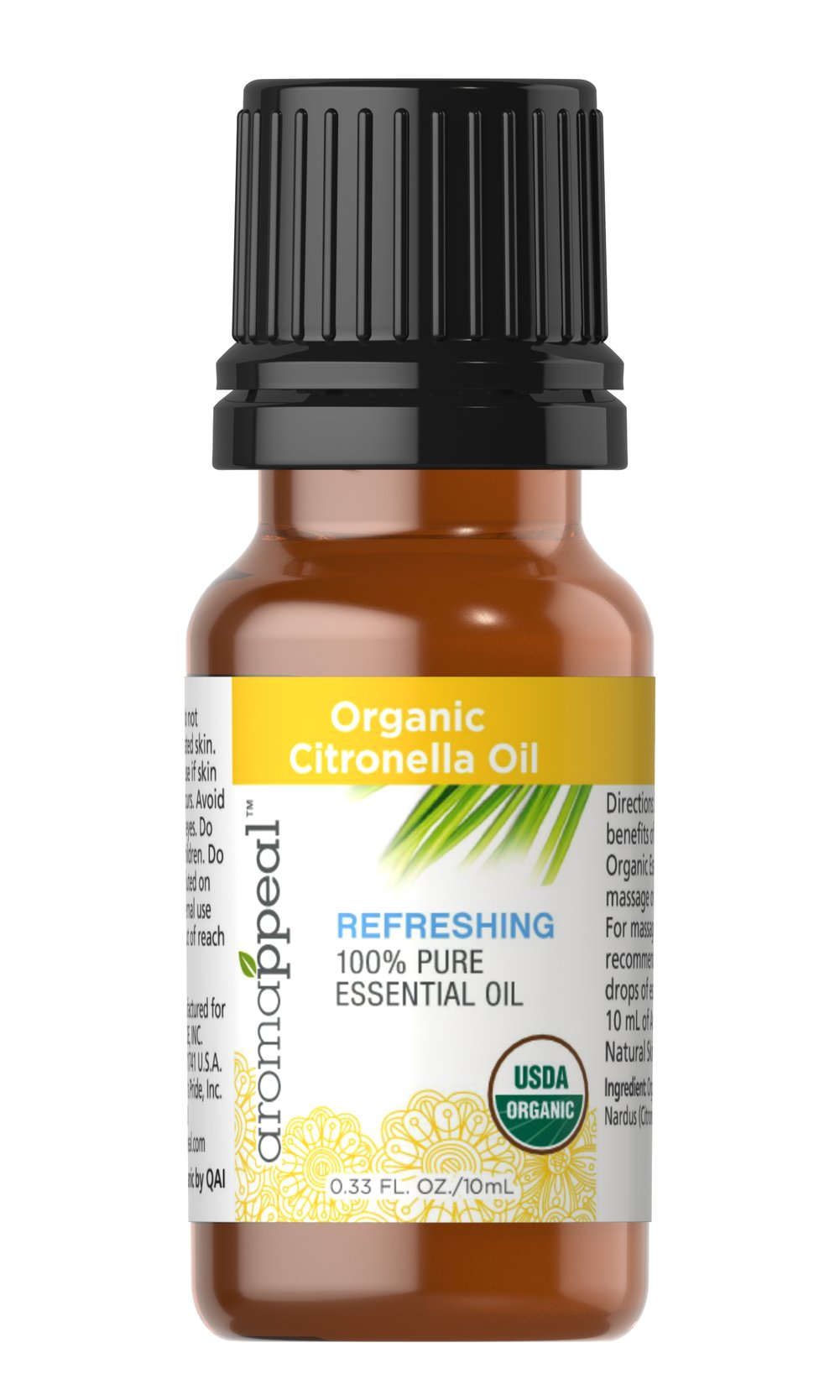 Organic Citronella Oil <p><strong>NEW! Organic Aromappeal - USDA</strong></p><p>With its compelling lemon-like aroma, Our Citronella Oil will stimulate your senses, leaving you feeling cleansed and refreshed.<br /></p><ul><li>    Traditional Uses: Purifying and cleansing, stimulating and uplifting.</li><li>    History: With its compelling lemon-like aroma,  Citronella