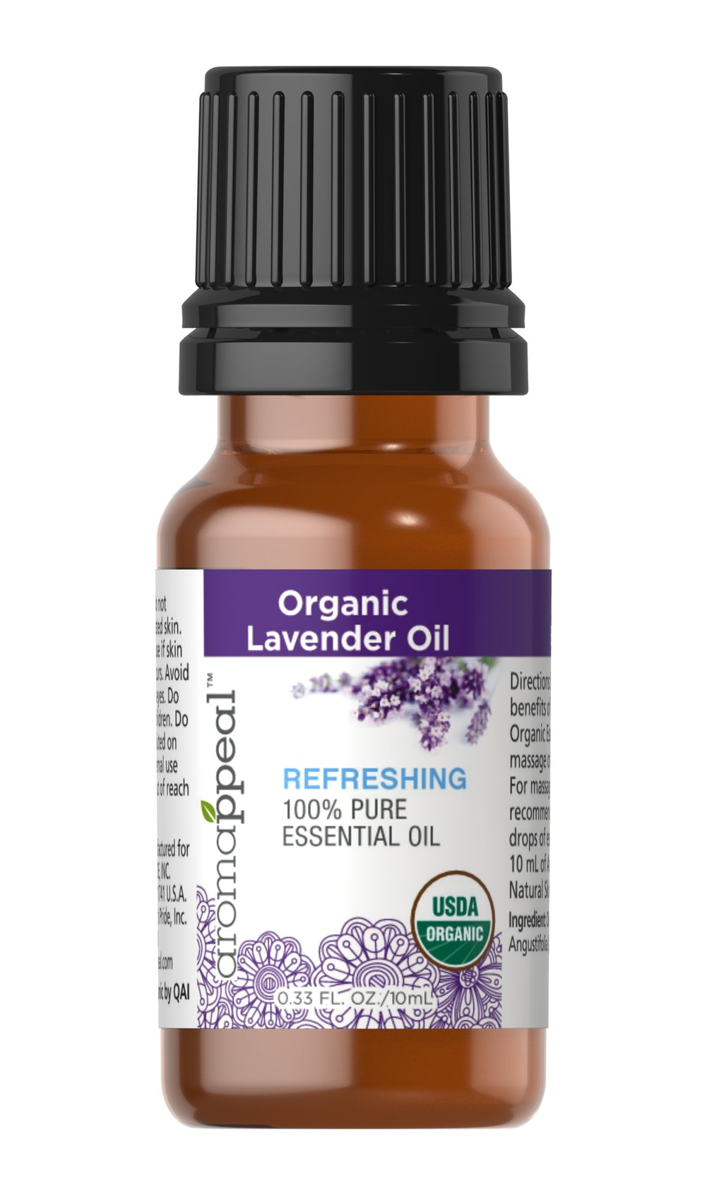Organic Lavender Oil <p><strong>NEW! Organic Aromappeal - USDA</strong></p><p>Tranquility and serenity, meditation, overall soothing and comforting – especially when used in massage.</p><ul><li>    Botanical Name: Lavandula Angustifolia</li><li>    Plant Part: Flowers</li><li>    Extraction Method: Steam Distillation</li><li>&nbs