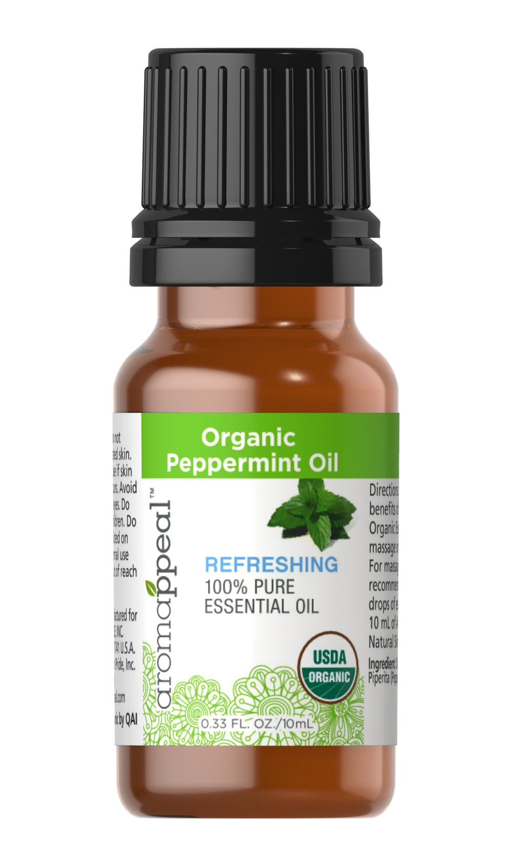 Organic Peppermint Oil <p><strong>NEW! Organic Aromappeal - USDA</strong></p><p>Instantly recognizable, peppermint oil has a very potent minty aroma that produces a cooling and refreshing sensation. Combine peppermint, lavender and a skin care oil for a soothing stomach-massage oil.</p><ul><li>    Traditional Uses: Cooling and tantalizing.</li><li>    History: Rub Peppermint Oil onto