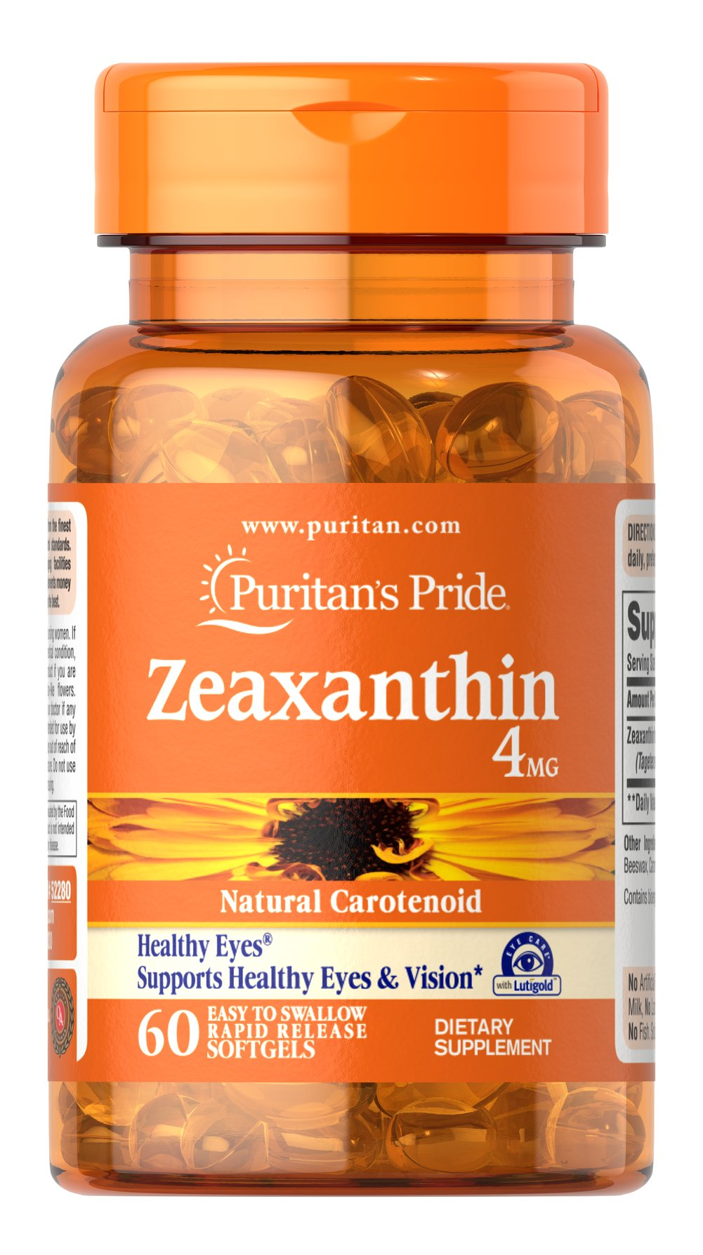 Zeaxanthin 4 mg Zeaxanthin is a natural carotenoid that helps support healthy eyes and vision.** Zeaxanthin is selectively placed in the macula's foveal center, the area in the eyes responsible for sharp central vision. In fact, Zeaxanthin's concentration in the eyes is up to 1000 times greater than concentrations found in any other body tissues.<br /><br />Adults may take 1 softgel with a meal, twice a day.  60 Softgels 4 mg