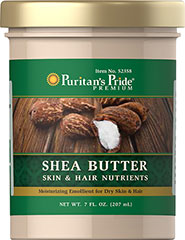 Shea Butter Nourish your skin and hair with Puritan's Pride Shea Butter. This moisturizing emollient helps condition dry skin and hair. 7 fl. oz. Butter  $16.99