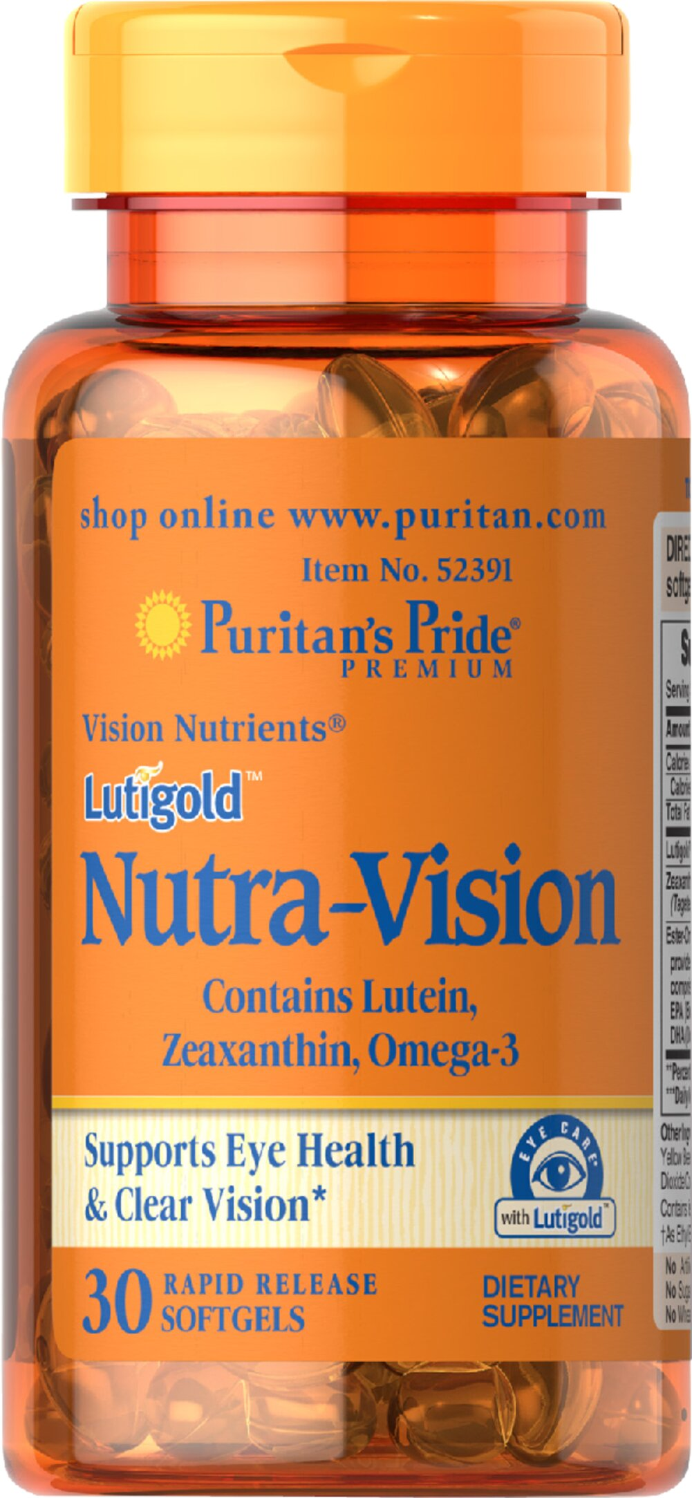 Lutigold™ Nutra-Vision with Lutein, Zeaxanthin & Omega-3 <p>Supports eye health and clear vision**</p><p>Contains Lutein, Zeaxanthin and Omega-3</p><p>Zeaxanthin is selectively placed in macula's foveal center, the area in the eyes responsible for sharp central vision.</p><p>Rapid release softgels</p><p>The combination of ingredients found in this Nutra-Vision dietary supplement supports eye health and clear vision.** Lutigold™ Lutein