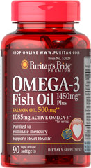 Omega-3 Fish Oil 1450 mg Plus Salmon Oil 500 mg <ul><li>Purified to eliminate mercury. </li><li>Supports Heart Health**</li></ul><p></p> 90 Softgels 1450 mg/500 mg $14.99