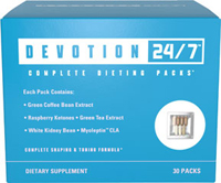 Complete Dieting Packs** <strong>Each Pack Contains:</strong><br />• Green Coffee Bean Extract<br />• Raspberry Ketones • Green Tea Extract<br />• White Kidney Bean • Myoleptin ™ CLA<br /><br />A balanced diet and exercise go hand-in-hand in any healthy lifestyle routine. Customizing your wellness plan to fit your busy lifestyle with daily packs like this Devotion 24/7™ can help you reach your long term goals while dealing with the daily morning rush or