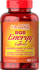 BGB Energy with Caffeine PROVIDES A BURST OF ENERGY**<br />Featuring:  Guarana, Green Tea with EGCG, Bee Pollen and High Potency B12 90 Capsules  $16.49