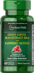 Green Coffee Bean 400 mg and Raspberry Ketone 100 mg <ul><li>Green Coffee Bean contains antioxidant properties.**</li><li>Standardized for 45% Chlorogenic Acids</li><li>60 Rapid Release Capsules</li></ul><br /> 60 Capsules 400 mg/100 mg $21.99