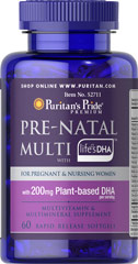 Prenatal Multi with Life's DHA™ <p>Nutrition is important throughout your entire life, but it is especially important before, during and after pregnancy since your infant also depends on your optimal nutrition during this time. This multivitamin multimineral supplement provides some of the key nutrients you and your developing baby may need during pregnancy and lactation.**</p><p>Puritan's Pride Prenatal Multivitamin with DHA is a good source of Calcium. Calcium is one