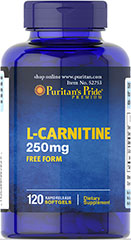 "L-CARNITINE 250MG FREE FORM <div class=""content ui-tabs-panel ui-widget-content ui-corner-bottom"" id=""tab-1""><br /></div> 120 Softgels 250 mg $21.99"