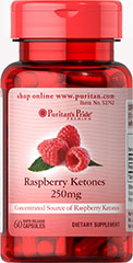 Raspberry Ketones 250 mg Concentrated Source of Raspberry Ketones<br /><br />250 mg in one serving<br /><br />Rapid Release Capsules<br /><br />Our Raspberry Ketones are highly concentrated.  Each serving of this dietary supplement contains 250mg of raspberry ketones. 60 Capsules 250 mg $14.99