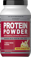Protein Powder with Creatine Ethyl Ester Banana Cream Pie 17 Grams of Protein per Serving<br />Banana Cream Pie Flavor<br /><br />Myology™ Protein Powder is an advanced nutrition shake.  Each serving of this formula contains 17g of protein, Creatine Ethyl Ester and essential vitamins and minerals. 2 lbs Powder  $26.99