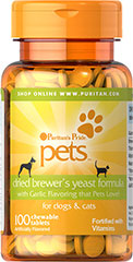 Dried Brewer's Yeast for Dogs & Cats Puritan's Pride premium pet products are produced from the finest raw materials under our stringent quality control standards. When it comes to your pet's health...choose the best. Our Dried Brewer's Yeast formula for dogs and cats is made with garlic flavoring that pets love! 100 Chewable Tablets  $5.99