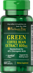 Green Coffee Bean Extract with Svetol® 800 mg <ul><li>Standardized for 40% Chlorogenic Acids</li><li>With Svetol®</li><li>Supports your Dieting Goals**</li></ul><p><br />Green Coffee Bean contains antioxidant properties.**<br /><br />SVETOL® is the plant extract from fresh green coffee beans that have not been roasted.</p><p></p> 60 Caplets 800 mg $29.99