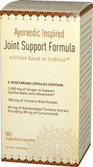 Ayurvedic Inspired Joint Support Formula with Ginger & Turmeric <p></p><p>• 1,500 mg of Ginger to Support Comfortable Joint Movement**<br />• 100 mg of Turmeric Root Powder<br />• 40 mg of Standardized Turmeric Extract, Providing 38 mg of Curcuminoids<br /><br />Each serving of Ayurvedic Inspired Joint Support contains 1,500 mg of Ginger to Support Comfortable Joint Movement.** Standardized Turmeric Extract providing Curcuminoids and Turmeric Root Po