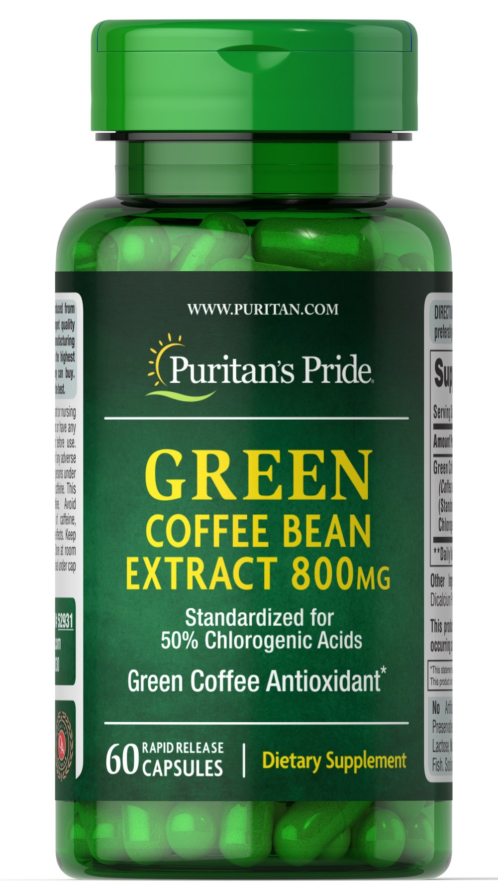 Green Coffee Bean Extract 800 mg Green Coffee Bean extract is made from coffee beans that are not roasted. This unique extract provides 45 percent chlorogenic acids. Green coffee is a major source of chlorogenic acids in nature and contains antioxidant properties.** Includes 60 rapid release capsules. 60 Capsules 800 mg $20.39