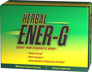 Herbal Ener-G <ul><li>Boosts Energy**</li><li>Mind Energizer**</li><li>Helps Revitalize & Rejuvenate the Body**<br /><br />Herbal Ener-G contains several herbs that work together to rejuvenate your mind and body.** Caffeine helps to energize your mind by working with the neural system.** Green Tea provides polyphenols, including the natural extract EGCG.</li></ul><p></p> 60 Capsules  $9.99