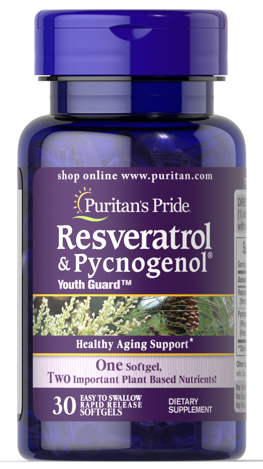 Resveratrol 100 mg & Pycnogenol® 30 mg <ul><li>Healthy Aging Support </li><li>One Softgel, Two Important Plant Based Nutrients </li><li>Easy to Swallow, Rapid Release Softgels<br /></li></ul> 30 Softgels 100 mg/30 mg $31.89