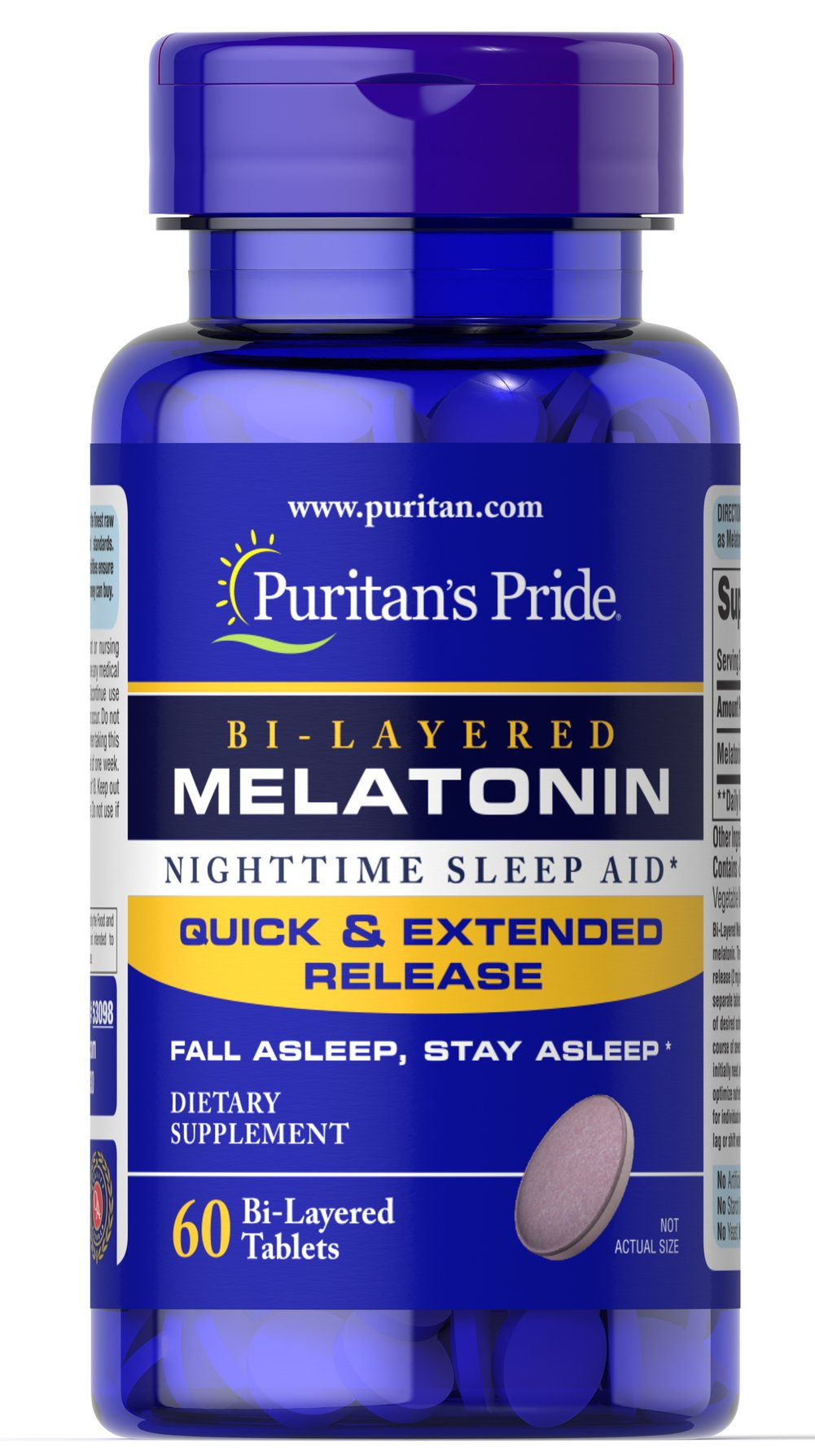 Bi-Layered Melatonin 5 mg Sometimes it's hard to unwind after a long day. That's when it's time  for Melatonin, a hormone naturally produced in the body that is closely  involved in the natural sleep cycle.** It's a terrific choice if you  experience occasional sleeplessness or jet lag, or if you want to  improve your quality of rest.**  Melatonin helps you fall asleep quickly  and stay asleep longer** 60 Tablets 5 mg $9.99