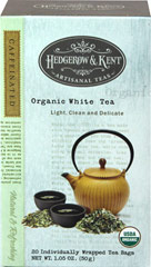 "Organic White Tea <p>Treat yourself to a refreshing cup of all-natural Hedgerow & Kent Artisanal Tea. We only use the finest, freshest leaves and herbs to ensure that each cup of tea is as pure as it is delightful. Hedgerow & Kent Artisanal Teas are ""steeped"" in tradition. Their soothing qualities and satisfying flavor embody all the benefits that tea drinkers first discovered in Asia centuries ago.</p><p>With its subtle, yet complex flavor and light,"
