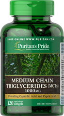 Medium Chain Triglycerides (MCTs) 1000 mg <p>Energy Source**<br />Rapid Release Softgels<br />Provides Caprylic Acid and Capric Acid<br /><br />Medium Chain Triglycerides (MCTs) provide Caprylic Acid and Capric Acid. MCTs are a unique form of dietary fat. MCTs can be derived from coconut oil. MCTs are shorter in length than most other dietary fats. This allows them to be oxidized without having to use the carnitine shuttle.** In other words, the chain length of the