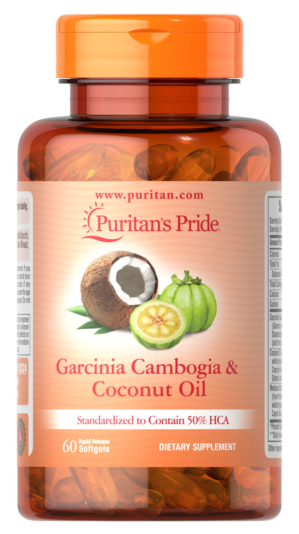 "Garcinia Cambogia 500 mg plus Coconut Oil 500mg <p>Garcinia Cambogia is related to the superfruit Mangosteen and is sometimes called tamarind, brindleberry or camboge. Garcinia Cambogia has been used in Ayurvedic practices for hundreds of years. <br /></p><p>The rind of this fruit contains the revolutionary ingredient Hydroxycitric Acid (HCA), which is considered the ""active compound"". These capsules contain a standardized supplement to provide 500 mg of HCA per serving."