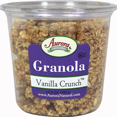 Organic Vanilla Crunch Granola Vanilla Crunch Granola is a crunchy and delicious blend of vanilla granola and cranberries. Organic, premium, scrumptious granola with the just-right amount of cranberries for sweetness. Goes perfect with milk, yogurt, over ice cream, or straight from the bag. 11 oz Container  $7.99