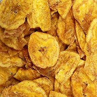 Plantain Chips <p>Plantains are a low in sugar variety that is cooked before servings as it is unsuitable raw. It is used is many savory dished somewhat like a potato would be used and is very popular in Western Africa and the Caribbean countries.</p><p>In places like South America and Mexico, plantain chips are as popular as potato chips. Crunchy and salty, plantain chips are a delicious alternative to potato chips. One taste and you will understand why they are so popular aro