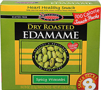 Dry Roasted Edamame Spicy Wasabi 100 Calorie Packs <p><strong>From the Manufacturer:</strong></p><p><strong></strong>100 Calorie Portion Controlled Snack Packs of Dry Roasted, Wasabi Edamame. They satisfy that crunchy-spicy thing, but with 70% less fat and 40% more protein than peanuts. Perfect to throw into a lunchbox, briefcase, or pocketbook for on-the-go, guilt-free snacking!</p><ul><li>Gluten-Free</li></ul> 8 per Box  $