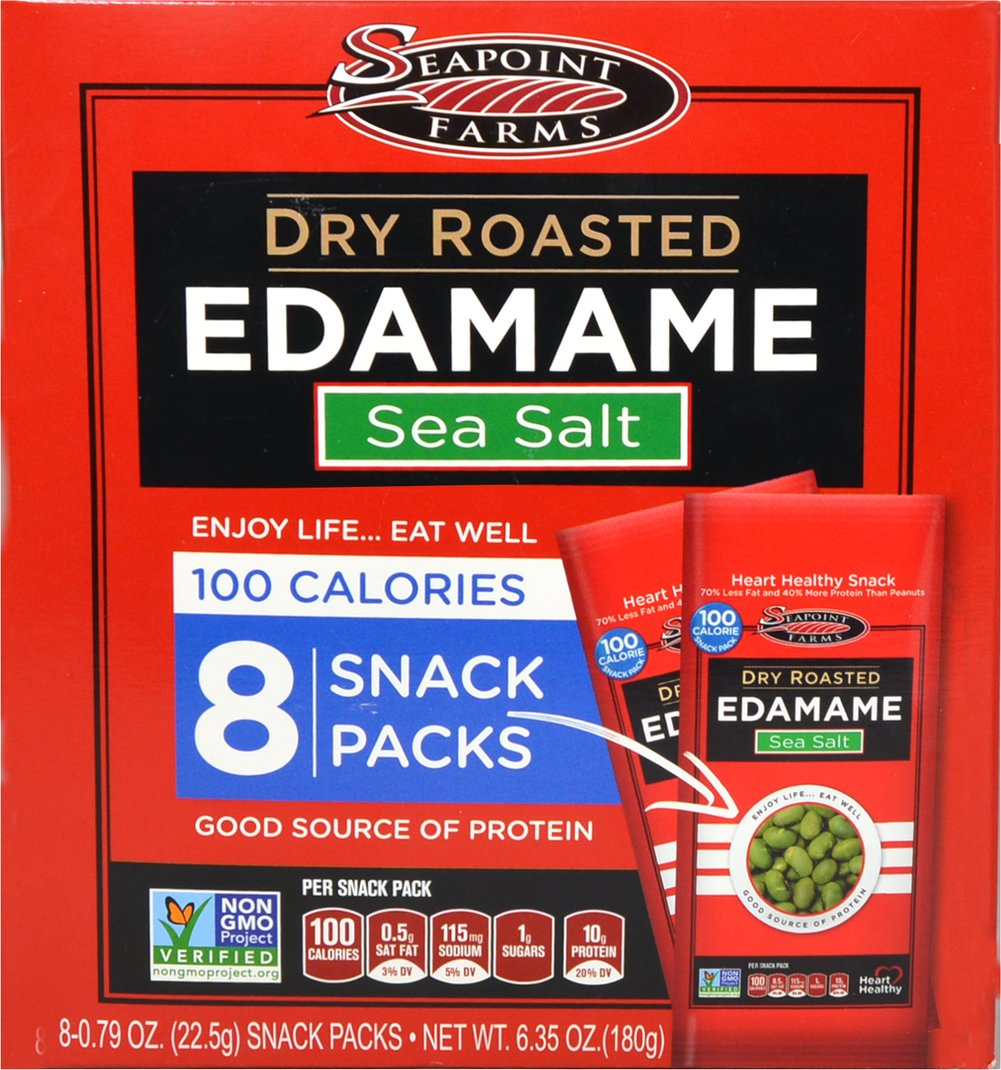 Lightly Salted Dry Roasted Edamame 100 Calorie Packs Crunchy, tasty and deliciously different, these 100-calorie packs of dry roasted edamame are lightly salted so they make a wonderfully satisfying snack. With 70% less fat and 40% more protein than peanuts, you just may discover a new favorite snack. These crunchy little beans have 11 grams of soy protein per serving and have a delicate, nutty flavor. They're great as a snack, salad topping, or even added to a favorite trail mix. 8 per Box