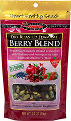 Berry Blend Edamame <p><strong>From the Manufacturer:</strong></p><p><strong></strong>This high protein, heart-healthy snack features cranberries infused with blueberry and pomegranate juice.</p><ul><li>With Edamame, Cranberries, Almonds, and Pumpkin Kernels</li><li>Gluten-Free</li></ul> 3.5 oz Bag  $5.99
