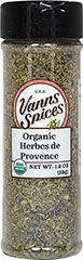 "Organic Herbs De Provence <p><strong>From the Manufacturer:</strong></p><ul><li><span class=""t-marker""></span><strong></strong>Flavor/Aroma: Sweet, minty-fresh flavor and aroma.</li><li>Popular Cuisine(s): French</li><li>Try It In/With: Fresh vegetables, dipping sauces, fish, meat, and pork. Blend it with extra virgin olive oil to make an amazing dipping oil for breads.</li></ul> 1.2 oz Bott"