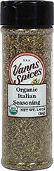 Organic Italian Seasoning <strong>From the Manufacturer: </strong>Italian Seasoning is a blend of some of the finest and most beloved Italian herbs. This seasoning includes oregano, garlic, basil, onion, pepper, marjoram, and rosemary. This assortment of flavors is perfect for adding flavor to all of your Italian specialties. 1.4 oz Bottle  $6.99