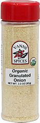 "Organic Granulated Onion <p><strong>From the Manufacturer: </strong></p><ul><li><span class=""t-marker""></span><strong></strong>Flavor/Aroma: Bold, robust, onion flavor, and pungent aroma.</li><li>Popular Cuisine(s): All</li><li>Try It In/With: Soups, stews, egg dished, sauces, beef, fish, poultry, vegetable dishes, salads, and marinades.</li></ul> 3.3 oz Bottle  $2.99"