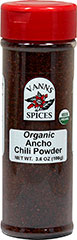 Organic Chili Powder, Ancho <strong>From the Manufacturer: </strong>Chili powder is a blend of powdered sweet ancho chile pepper and other ingredients, including cumin, garlic, and oregano. 3.6 oz Bottle  $9.99