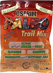 "Beef & Ostrich Paleo Trail Mix <p><strong>From the Manufacturer: </strong></p><p>Ostrim Paleo Trail Mix is made with Beef and Ostrich Jerkie with fruit, almonds, cashews, and cranberries infused with blueberry juice.</p><ul><li>Good Source of Protein</li><li>All Natural</li><li>Gluten Free</li><li>No MSG</li></ul><p><span class=""t-marker""></span><span class=""t-m"