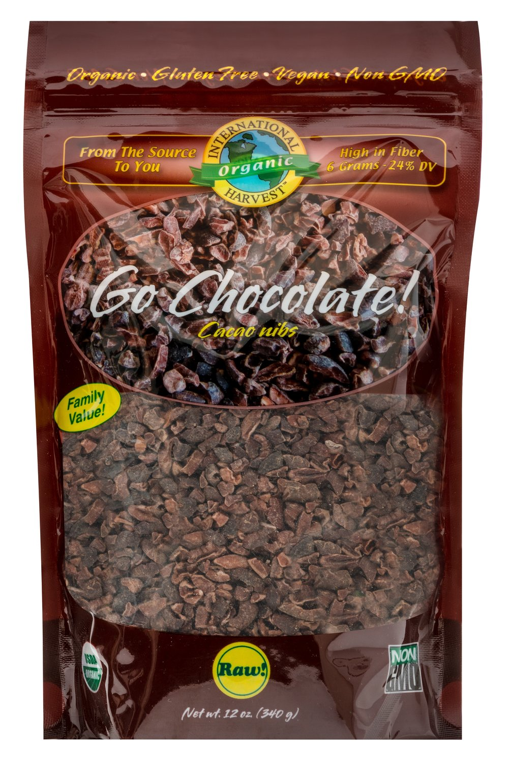 "Organic Raw Go Cacao Nibs <p><strong>From the Manufacturer:</strong></p><p><strong></strong>Cacao is chocolate! In it's original state, unprocessed, unheated, no fillers, or no additives, just 100% Raw Organic Chocolate unsweetened and ready to use or eat. This ancient ""Lover's Fuel"" can be used in hundreds of ways such as every day recipes as well as smoothies, cookies, cakes, pies, energy shakes, pudding, ice cream, and so much more!&"