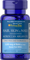 Hair, Skin & Nails infused with Moroccan Argan Oil  60 Softgels 5000 mcg $17.99