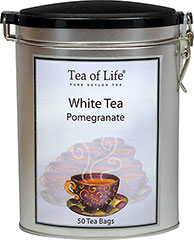 White Pomegranate Tea <p><strong>From the Manufacturer:</strong></p><p>This beautiful White Pomegranate tea tin holds 50 bags of delicious tea, brought to you by Tea of Life. These teas are grown and processed on some of the most prestigious plantations in the hill country of Sri Lanka. Bringing you the best flavoring in pure Ceylon tea.</p><ul><li>Gluten Free</li></ul> 50 Bags  $8.99